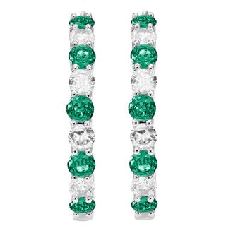 Divina Rodium-plated Brass Emerald and White Sapphire Hoop Earrings