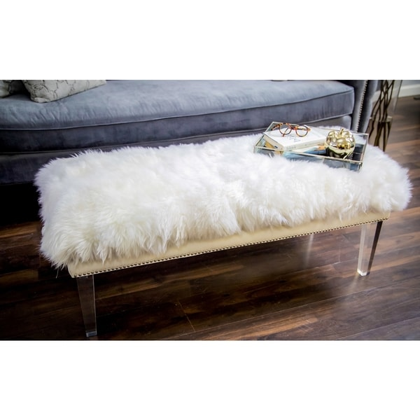 Luxe White Sheepskin Lucite Bench Free Shipping Today 17175505