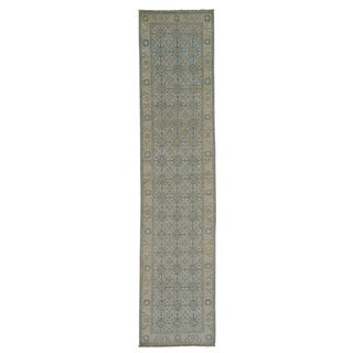 Sky Blue Washed Out Oriental Khotan Handmade Runner Rug (2'7 x 11'7)