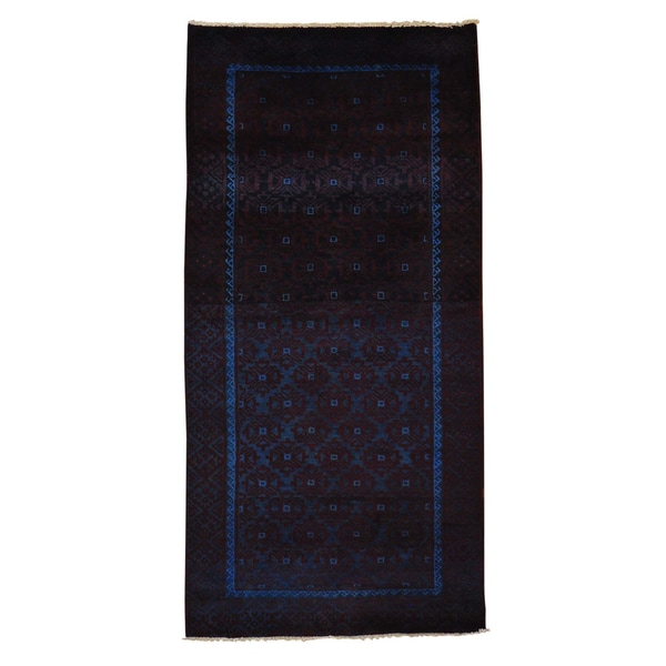 Overdyed Worn Persian Baluch Hand Knotted Runner Rug