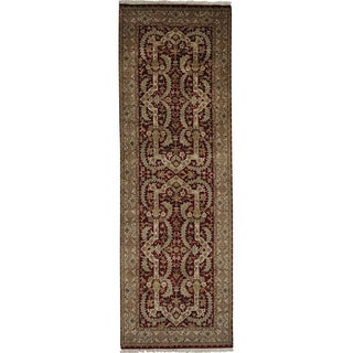 Red Tabriz Revival Hand Knotted Oriental Runner Rug (3'3 x 9'10)