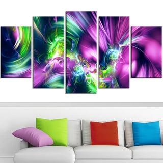 Design Art 'Green and Purple Shine' Contemporary Canvas Art