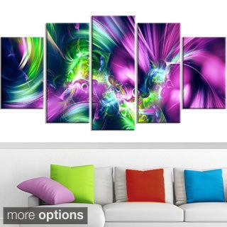 Design Art 'Green and Purple Shine' Contemporary Canvas Art