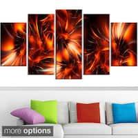 Design Art 'Orange Startbusts' Contemporary Canvas Art