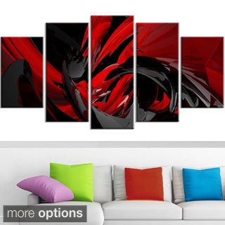 Design Art 'Red and Grey Mixer' Contemporary Canvas Art