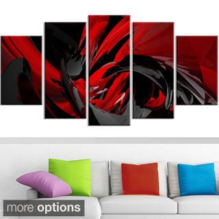 Design Art 'Red and Grey Mixer' Contemporary Canvas Art