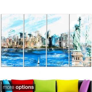 Design Art 'Ellis Island Landscape' Large Americana Canvas Art Print
