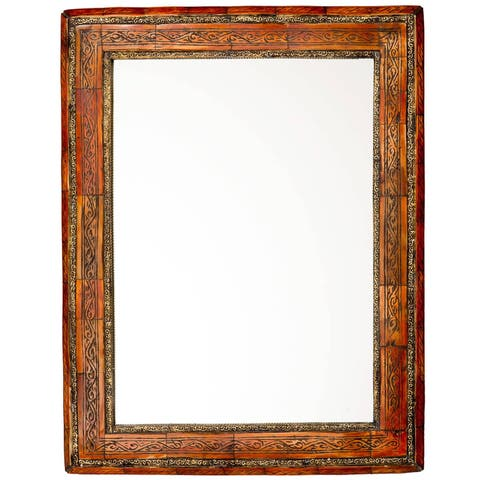 "Handmade Carved Henna Bone Mirror - 20"" x 16"" (Morocco)"