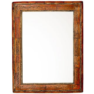 "20"" Moroccan Carved Henna Bone Mirror"