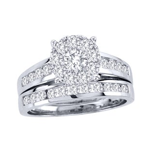 De Couer 10k White Gold 1 1/2ct TDW Diamond Bridal Ring Set (H-I, I2) Size 8 (As Is Item)