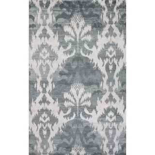 Hand-Knotted Argyle Pattern Green/ Ivory Area Rug (8' x 11')