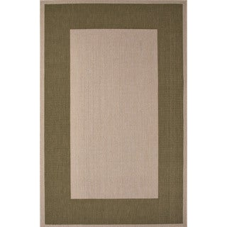 Indoor/ Outdoor Border Pattern Ivory/ Green Area Rug (2' x 3'7)