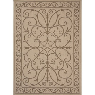 Indoor/ Outdoor Oriental Pattern Brown/ Brown Area Rug (2' x 3'7)