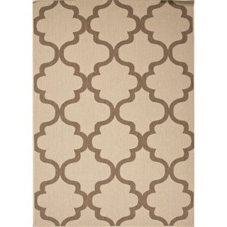 Indoor/ Outdoor Geometric Pattern Brown/ Brown Rug (2' x 3'7)