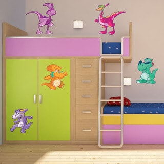 Colorful Baby Dino II Self-adhesive Nursery Decal Set