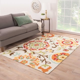 Hand-tufted Floral Pattern Ivory Rug (2' x 3')