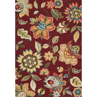 Hand-tufted Floral Pattern Red Area Rug (2' x 3')