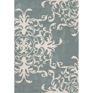 Hand-tufted Floral Pattern Blue/ Blue Area Rug (2' x 3')