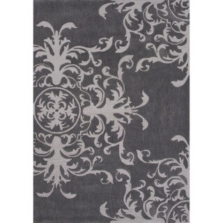 Hand-tufted Floral Pattern Grey Area Rug (2' x 3')