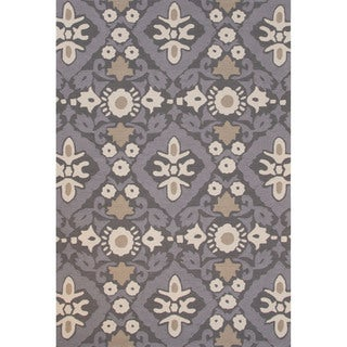 Hand-tufted Grey/ Grey Floral Pattern Rug (2' x 3')