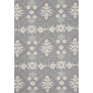 Hand-tufted Blue Floral Pattern Rug (2' x 3')