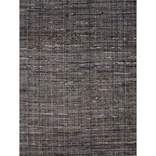 Solids/ Handloom Solid Pattern Black/ Grey Area Rug (2' x 3')