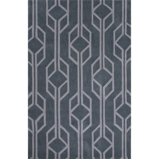 Hand-Tufted Geometric Pattern Blue/ Blue Area Rug (7'6 x 9'6)