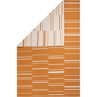 Flatweave Stripe Pattern Orange/ White Area Rug (8' x 11')