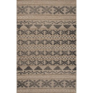 Hand-Tufted Argyle Pattern Grey/ Grey Area Rug (8' x 11')