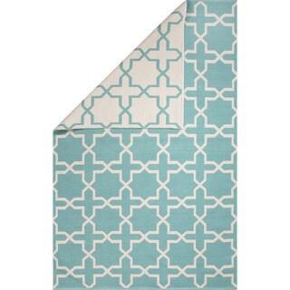 Flatweave Geometric Pattern Blue/ Ivory Area Rug (2' x 3')