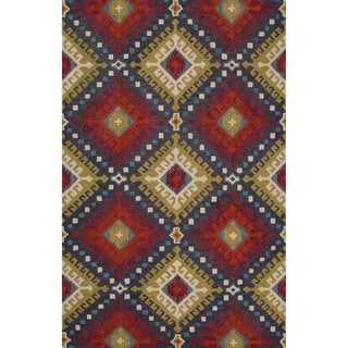 Hand-tufted Argyle Pattern Red Rug (2' x 3')