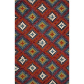 Hand-tufted Argyle Pattern Red/ Red Rug (2' x 3')