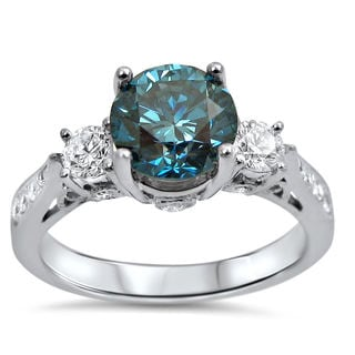 Noori 14k White Gold 1 1/2ct TDW Blue Diamond 3-stone Engagement Ring