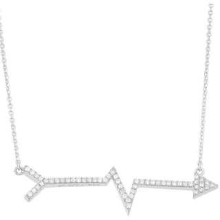 14k Gold 3/5ct TDW Diamond Heartbeat Arrow Necklace