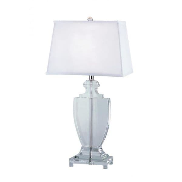 Cambridge 1-Light White 26.75 in. Table Lamp with White Linen