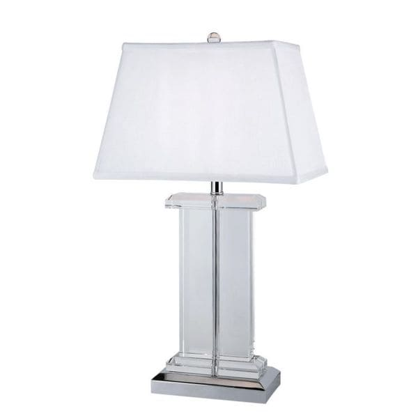 Cambridge 1-Light Clear 26 in. Table Lamp with White Linen