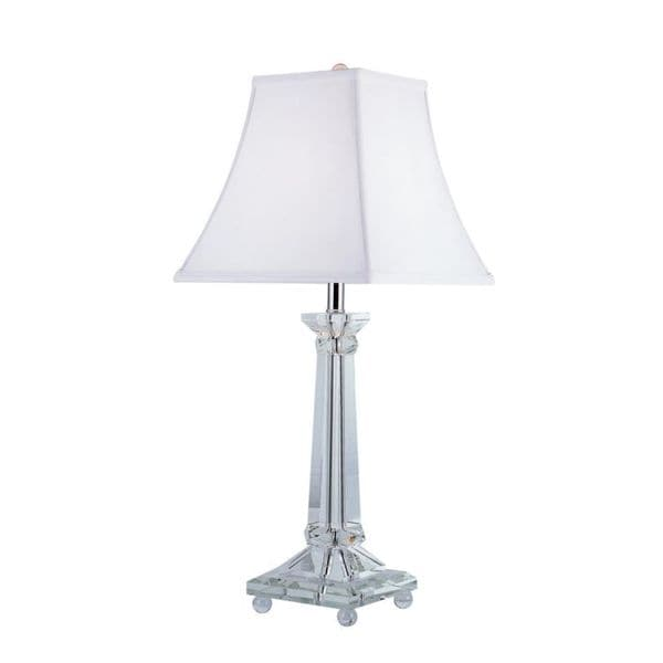 Cambridge 1-Light Polished Chrome 27.5 in. Table Lamp with White Linen
