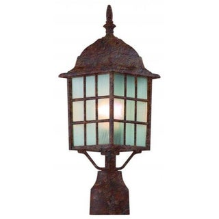 Cambridge Rust Finish Outdoor Post Head With A Frosted Shade