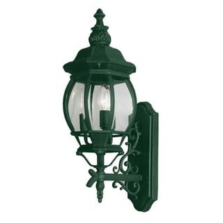 Cambridge Verde Green Finish Outdoor Wall Lantern With a Beveled Shade