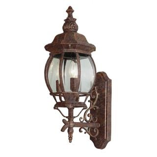 Cambridge Rust Finish Outdoor Wall Lantern With a Beveled Shade