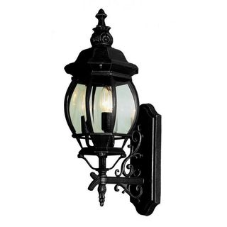 Cambridge Black Finish Outdoor Wall Lantern With a Beveled Shade