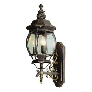Cambridge Black Gold Finish Outdoor Wall Lantern With a Beveled Shade