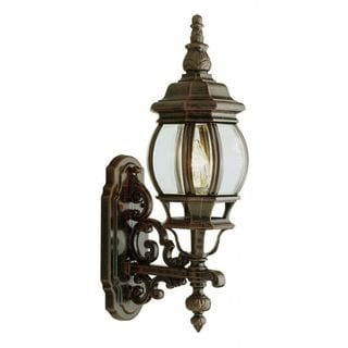 Cambridge Black Copper Finish Outdoor Wall Lantern With a Beveled Shade