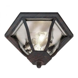Cambridge Black Copper Finish Flush Mount With A Seeded Shade