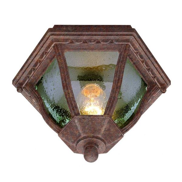 Cambridge Rust  Finish Flush Mount With A Seeded Shade
