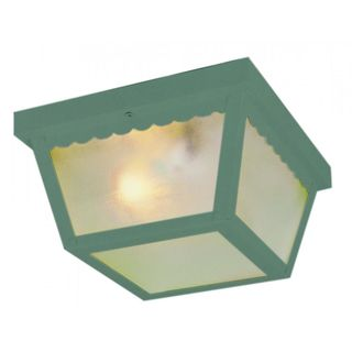 Cambridge Verde Green Finish Flush Mount With A Frosted Shade