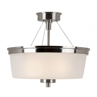 Cambridge 2-Light Brushed Nickel 14 in. Semi Flush Mount with White Glass