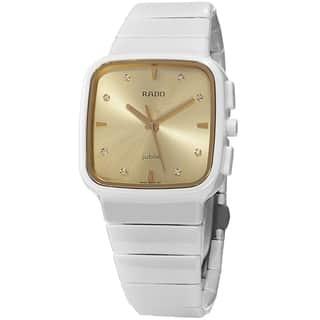 Rado Women's R28900702 'R5.5' Goldtone Diamond Dial White Ceramic Bracelet Swiss Quartz Watch|https://ak1.ostkcdn.com/images/products/10030844/P17176099.jpg?impolicy=medium