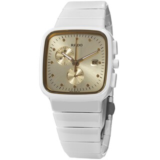 Rado Women's 'R5.5' Gold Dial White Ceramic Bracelet Chronograph Swiss Quartz Watch