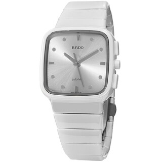 Rado Women's 'R5.5' Silvertone Dial White Ceramic Bracelet Swiss Quartz Watch